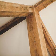 uncleaned green oak frame truss detail