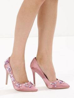 47a7b3197b5 Sequin   pearl embellished pumps