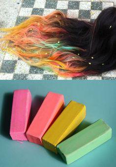 Sunset Hair Chalk, Hair Tint, Hair Stain, Ombre Hair, Rainbow Hair, Festival Paint, DIY Temporary hair color, Reverse Ombre Hair