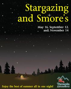 Our guides will regale you with colorful stories of our constellations, and facts about our stars. Then we shoot for the stars on our Giant Swing screaming as we reach for the moon!   Call 301-725-1313 or click http://www.terrapinadventures.com/tours-trips/other/stargazing-and-smores/   #Stargazing #Smores