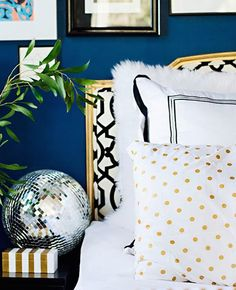 Love the disco ball, black and white, gold, bright blue, green