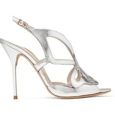 Sophia Webster Madame Butterfly mirrored-leather sandals ($555) ❤ liked on Polyvore featuring shoes, sandals, silver, sophia webster, butterfly shoes, slingback sandals, cut out sandals and slingback shoes