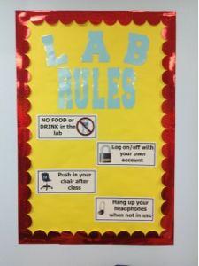 A Techy Teacher with a Cricut: Computer Lab Bulletin Board: Lab Rules