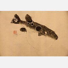 Tiger Blowfish Original Print/Gyotaku traditional Japanese fish printing