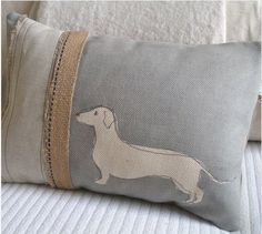 handprinted daschund cushion by HELKATDESIGN - love this