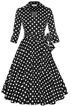 Babyonline 3/4 Sleeve 1940's style dresses V Neck Audrey Hepburn Rockabilly List Price: $39.90 Buy New: $28.98