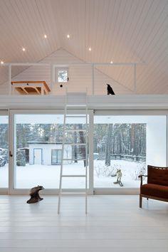 Scandinavian Retreat  White; wood; high ceiling; lights