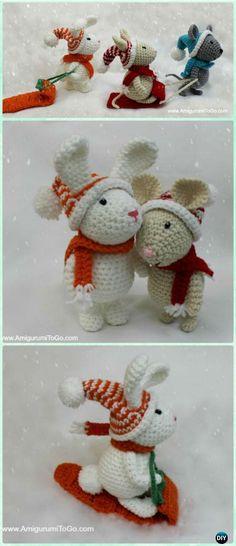 Crochet Amigurumi Winter Bunny on Sleigh Free Patterns