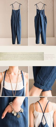 Summer Dark Blue Causel Cotton Linen Overalls Trousers Women Clothes