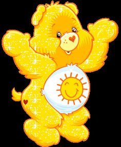 Funshine Bear is the Care Bear's class clown. This playful bear really knows how to be funny and to have fun. Funshine Bear works hard t. Bear Images, Bear Pictures, Cute Pictures, Photo Ours, Sunshine Bear, Care Bears Vintage, Care Bear Party, Glitter Gif, Bear Graphic