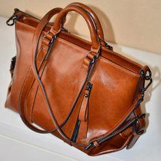 Elegent Women Handbag Lady Shoulder Bag Tote Purse Oiled Leather Brown Color #Unbranded #TotesShoppers