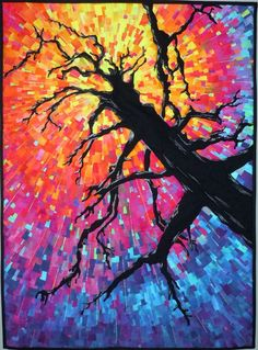 """[splinteringlight5quickfix%255B4%255D.jpg] The quilt is made with small """"chips"""" of the silks, fused onto a background, and the tree is cotton with cotton thread embellishment.  Throughout the piece, long slender """"splinters"""" of holographic thread accent the background."""