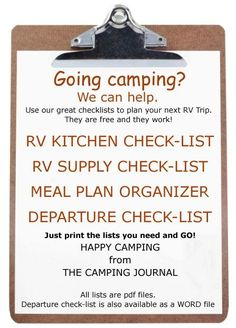 Camping/RV Checklist.  Kitchen, Supply, Meal Plan, Departure - WOW! Quite possibly the most useful information I've found yet!