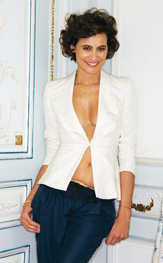 Ines de la Fressange in navy and white in various fabric textures