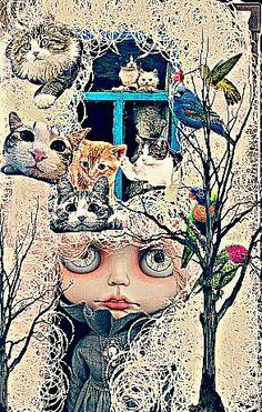 Cat lady Cat Lady, Mona Lisa, Cats, Artwork, Gatos, Work Of Art, Auguste Rodin Artwork, Artworks, Cat
