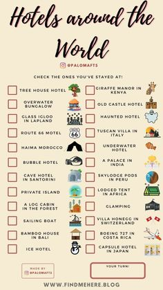 Travel Checklist, Travel List, Travel Goals, Travel Essentials, Free Travel, Airplane Essentials, Holiday Checklist, Beautiful Places To Travel, Cool Places To Visit