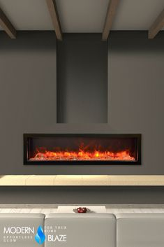 "60"" wide frameless built-in electric fireplace with multicolor flame, optional heat, and remote control."