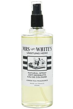 """""""This has been my go-to for spring and summer for the last three years — it is my favorite bug spray, hands down! The lemon-tea fragrance and lack of disgusting residue make it great for the entire family, and the chic packaging make it a great hostess gift."""" Mrs. White's UnStung Hero-Mosquito Spray, $38, available at Shen."""