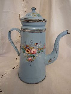 SUPERBE CAFETIERE EN TOLE EMAILLEE COMPLETE ANCIENNE
