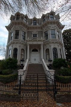 Old Victorian Mansion in Sacramento, California, USA.