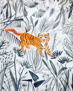 Kleuren, ontwerp Jungle Illustration, Animal Drawings, Cat Art, Floral Watercolor, Art Inspo, Painting & Drawing, Illustrations Posters, Artsy, Artwork