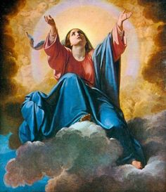A painting of Mary's Assumption into Heaven in the Servite church of Montescenario in Tuscany, Italy.