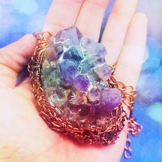 Amethyst geode chunk, hand wrapped in tangles of hammered copper wire - by @TheDesignVine