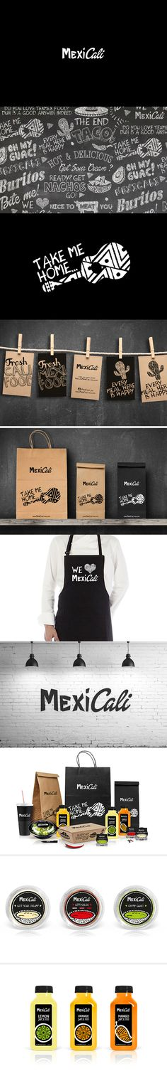 MexiCali restaurant packaging and branding. Brand Identity Design, Graphic Design Branding, Corporate Design, Typography Design, Packaging Design, Logo Design, Corporate Identity, Print Design, Restaurant Branding
