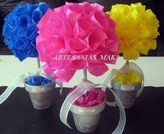 centros de mesa, original, bonito, colores, azul, rosado, amarillo