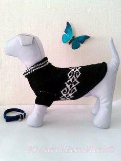 Knit Handmade Pattern Sweater For Dog. Pet Dress. Knit Dog Clothing. Sweater for Dog. Dog Clothes. Size M