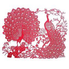 Royal Peacocks - Chinese Paper Cut