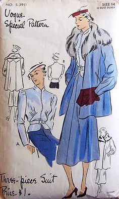 Vogue Special Pattern S-3911 | 1930s Three-Piece Suit