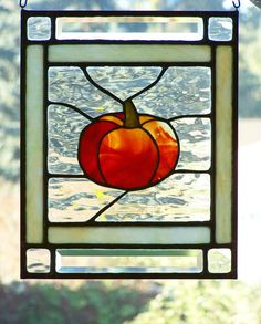 Stained Glass Panel Autumn Orange Pumpkin Fall by SujuGlassArt, $95.00
