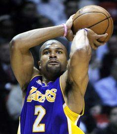 Lakers Trade Derek Fisher to Rockets 2016 Warriors, Derek Fisher, Wearing Purple, Anthony Davis, Magic Johnson, Draymond Green, Kevin Durant, Los Angeles Lakers, World Championship