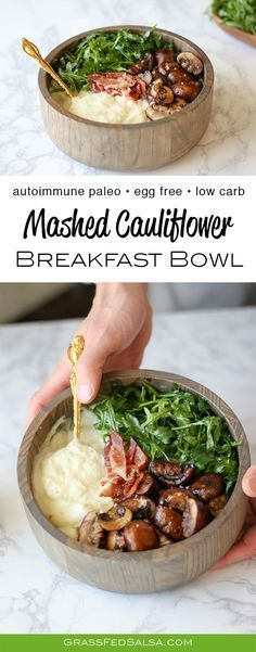 Get the recipe for this low carb, gluten free, and AIP Friendly breakfast - the Mashed Cauliflower Breakfast Bowl.