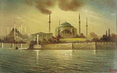 Onnik der Azarian New Mosque Istanbul presented as Art Print on Canvas. Oil Painting Gallery, Canvas Prints, Art Prints, Istanbul, Mosque, Taj Mahal, Original Paintings, Building, Artist