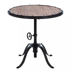 Buy Benzara Metal Wood Round Table With Height Adjusting Arrangements by Benzara Inc on Dot & Bo