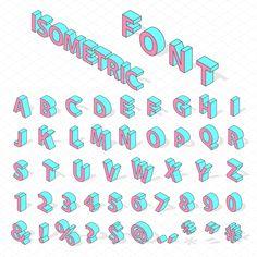 Isometric alphabet typography text by RocketArt on @creativemarket