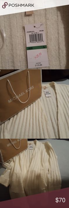 BNWT Oversized Sweater Super cute! Off white, oversized sweater. It maybe hot out now, but come fall, you'll be glad you invested in this baby! Michael Kors Jackets & Coats