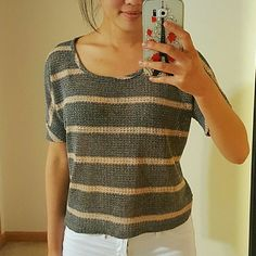 Gray and Light Tan Striped Lightweight Sweater Top Perfect condition. Great summer top. 81%polyster 19% Rayon Forever 21 Tops Blouses