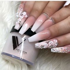 Best Spring Nail Designs and Ideas that nails the Spring nail colors and designs. Check out these awesome nail designs for Spring and update your stock Spring Nail Colors, Nail Designs Spring, Nail Art Designs, Nail Art Flowers Designs, Rhinestone Nails, Bling Nails, Fun Nails, Rhinestone Nail Designs, Diamond Nail Designs