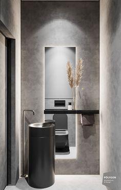 Black and White Minimalism - Dezign Ark (Beta) Washroom Design, Toilet Design, Bathroom Design Luxury, Baths Interior, Luxury Homes Interior, Home Room Design, Home Interior Design, Bathroom Design Inspiration, Minimalist Interior