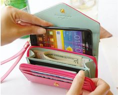 General Use Pouch Wallet PU Leather Bag Case for iPhone 4s 5S 5C 6 for Samsung Galaxy S3 S4 S5 Cover Crown Card Slot