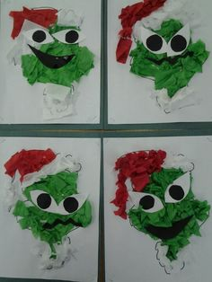 Mr. Grinch tissue paper project Black line drawing of the Grinch filled in with white glue and crunched tissue paper. Pre-cut eyes and mouths or let kids choose their own shapes to cut.