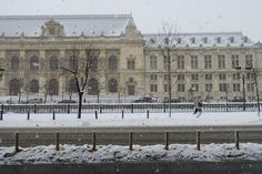 First real Snow in Bucharest Bucharest, Romania, Louvre, Snow, Building, Travel, Voyage, Trips, Buildings