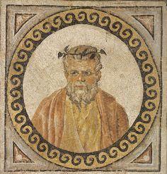 Floor mosaic fragment depicting Silenus Unknown artist, Roman Floor mosaic fragment depicting Silenus, 325-330 Limestone and…