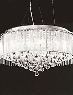 PJSKJZQ Max 40W Modern/Contemporary / Drum Crystal / Bulb Included Chrome Pendant Lights Living Room / Bedroom / Dining Room , 220-240v: Amazon.co.uk: Lighting