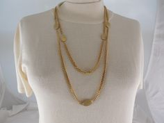 "Vintage 1960s Monet Long Gold Tone Chain With Oval Discs Necklace 58"" Long by Dockb30Crafts on Etsy"