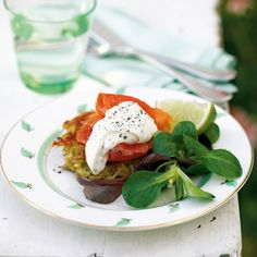 ... trout on crunchy potato cakes with chive and horseradish creme fraiche
