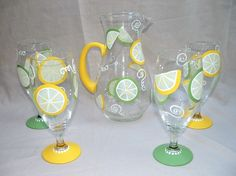 Items similar to LEMON LIME HAND PAINTED PITCHER and GLASSWARE SET on Etsy
